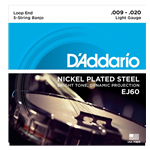 D'Addario EJ60 5-String Banjo Strings Nickel Light 9-20