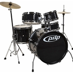 PDP Pacific Player Jr. Drum Kit With Cymbals And Throne Black PDJR18KTCB