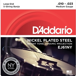 D'Addario EJ61NY 5-String Banjo Strings, NY Steel, Medium 10-23