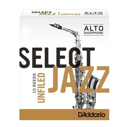 D'Addario Select Jazz Unfiled Alto Sax Reeds 2 Medium 10 Pack RRS10ASX2M