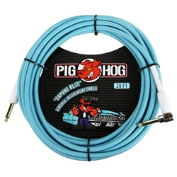 "Pig Hog ""Daphne Blue"" 20' Instrument cable, Rt Angle Connect PCH20DBR"