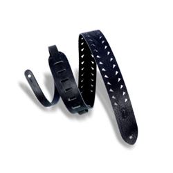 Levy's Classics Series Tiger Tooth Punch Out Premier Guitar Strap, Black M12TTV-BLK