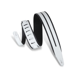 Levy's Rebel Series Double Racing Stripe Guitar Strap, Black/White MG317DRS-BLK-WHT